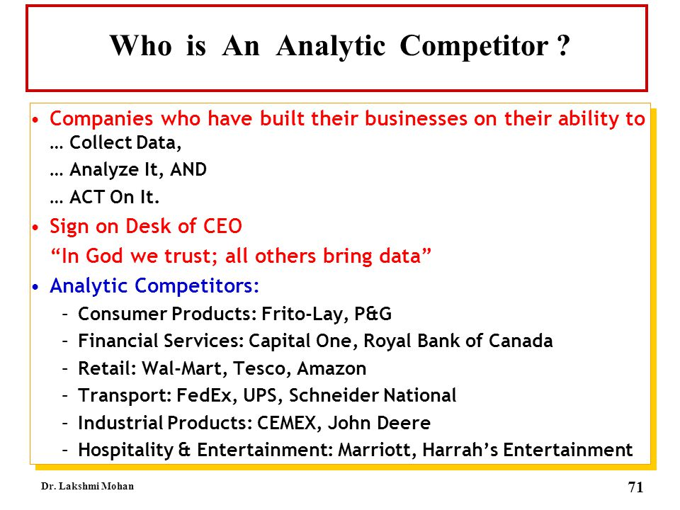 Who is An Analytic Competitor