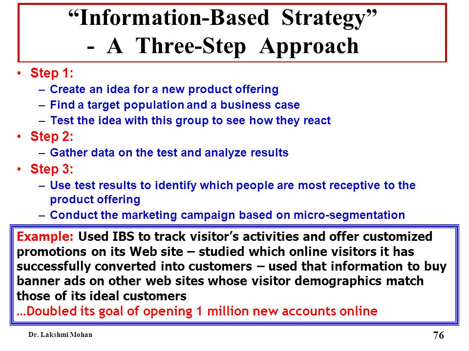 Information-Based Strategy - A Three-Step Approach