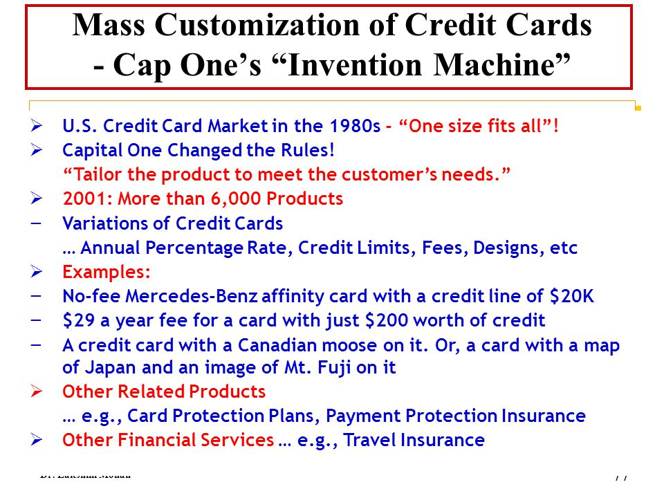 Mass Customization of Credit Cards - Cap One's Invention Machine