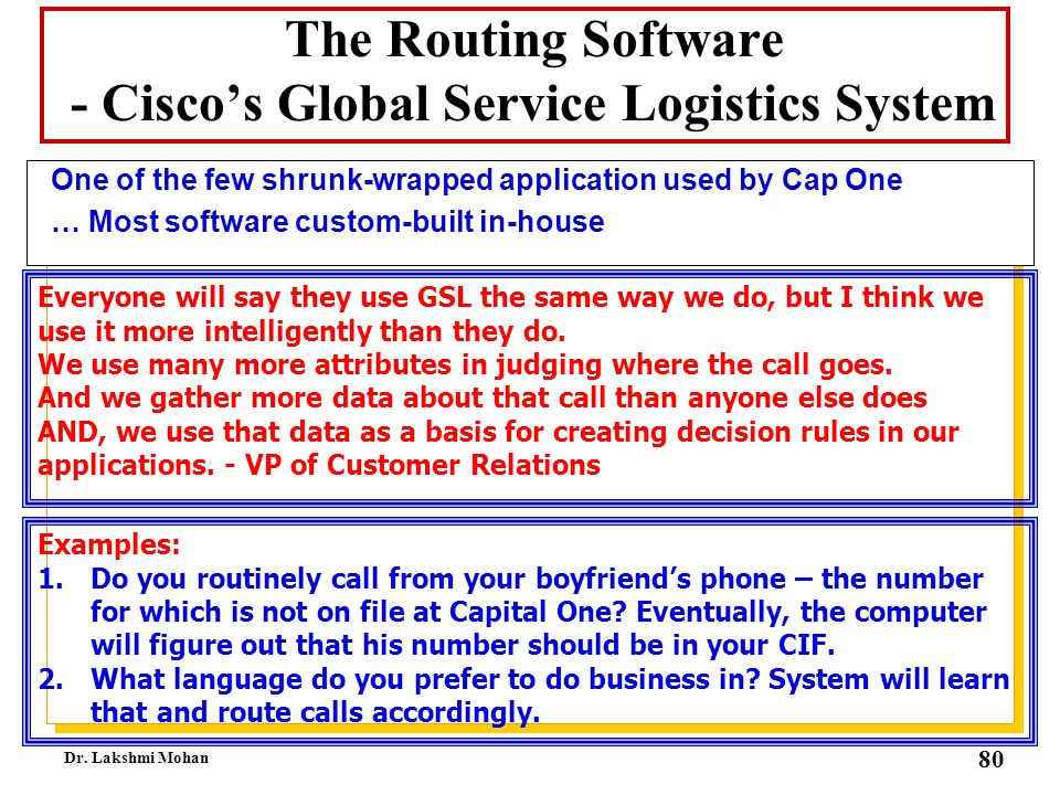 The Routing Software - Cisco's Global Service Logistics System