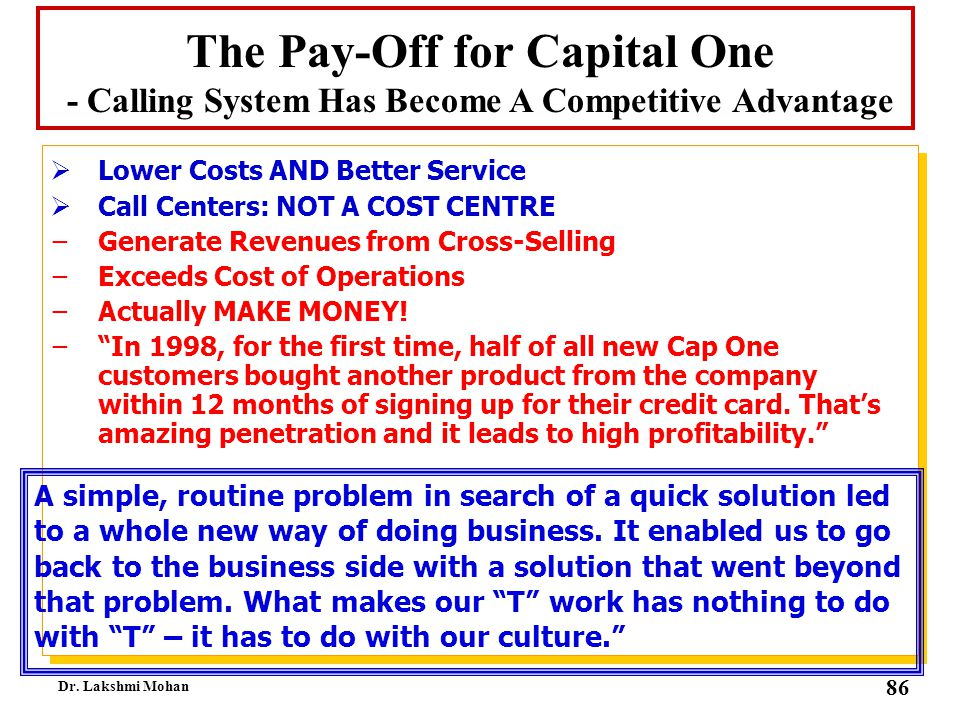 The Pay-Off for Capital One - Calling System Has Become A Competitive Advantage