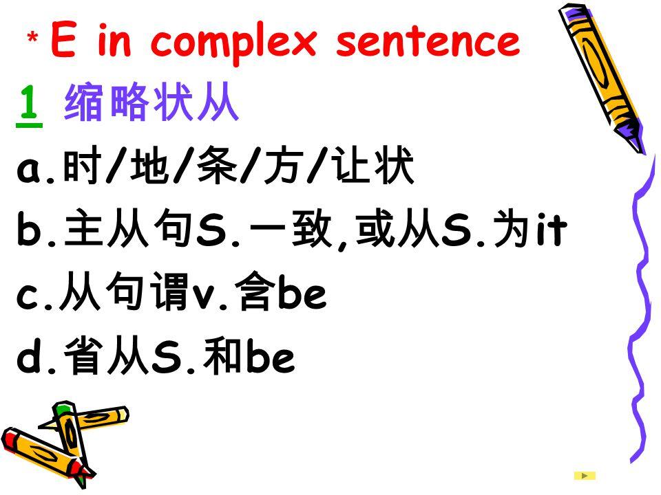 1 缩略状从 a.时/地/条/方/让状 b.主从句S.一致,或从S.为it c.从句谓v.含be d.省从S.和be