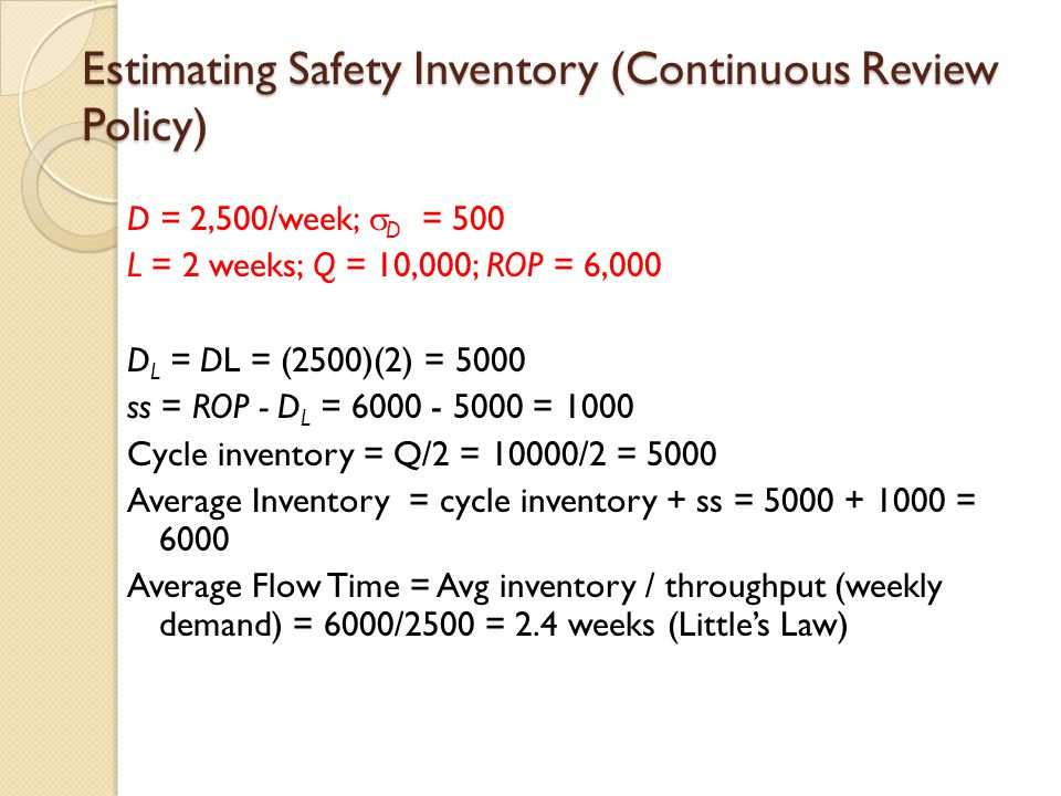 Estimating Safety Inventory (Continuous Review Policy)
