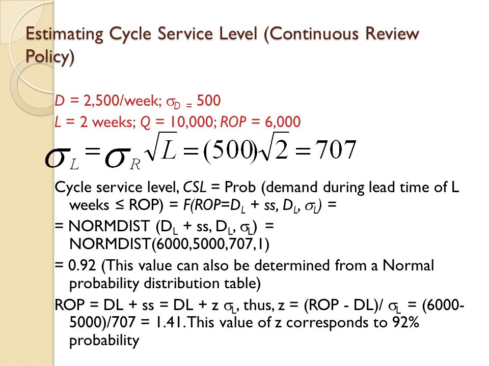 Estimating Cycle Service Level (Continuous Review Policy)