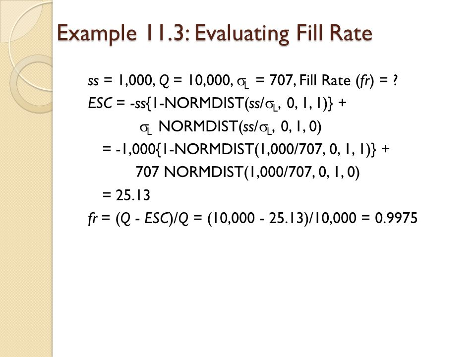 Example 11.3: Evaluating Fill Rate