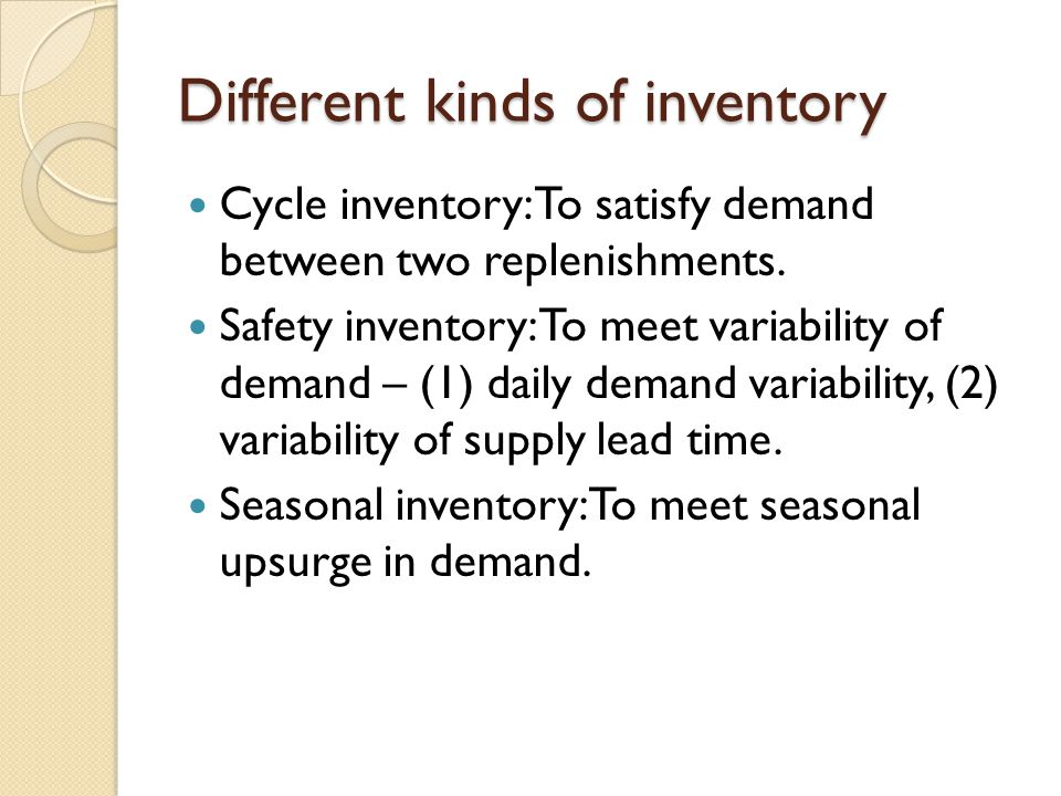 Different kinds of inventory