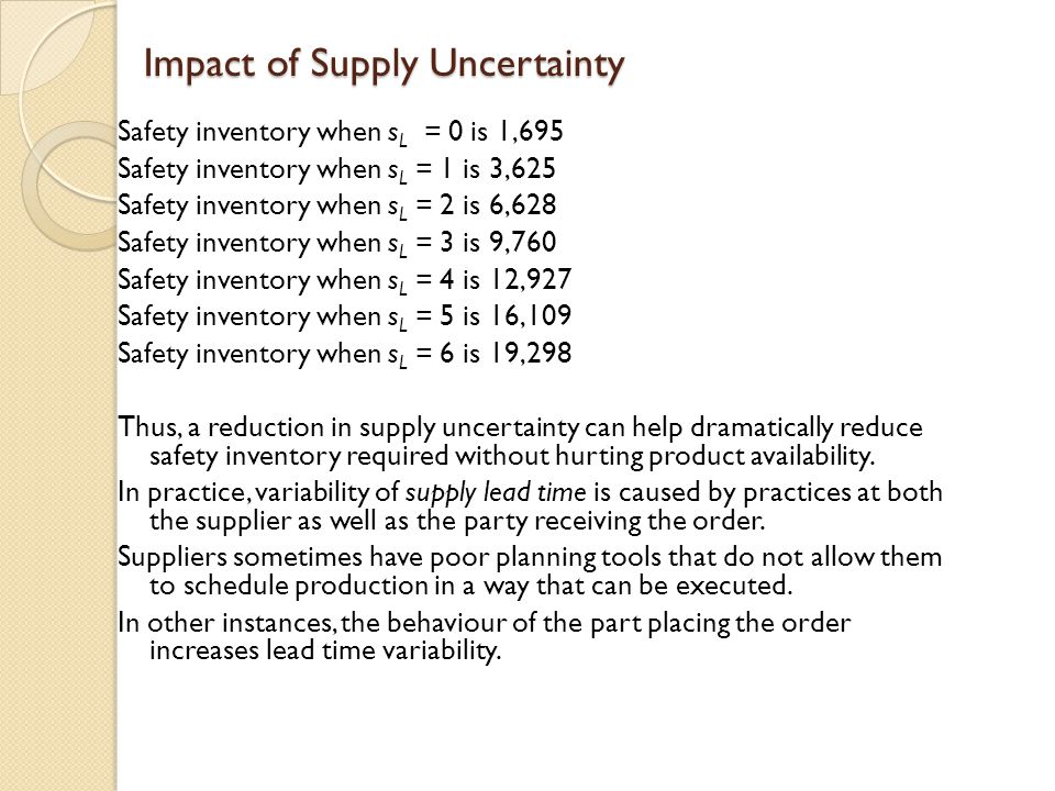 Impact of Supply Uncertainty