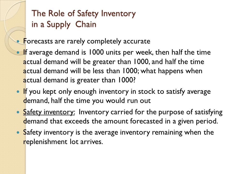 The Role of Safety Inventory in a Supply Chain
