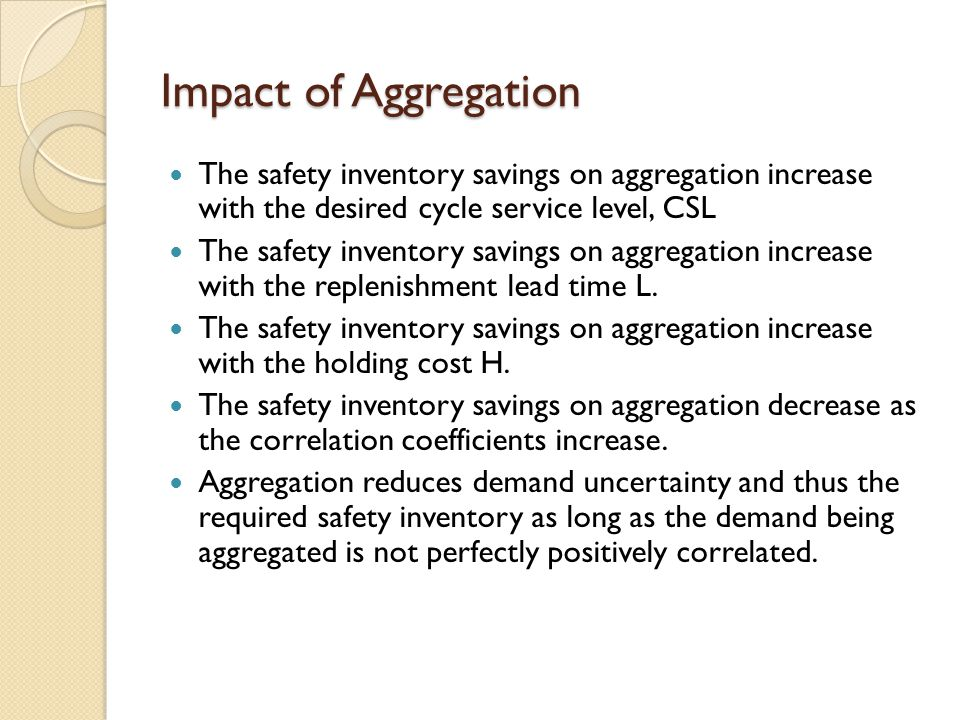 Impact of Aggregation The safety inventory savings on aggregation increase with the desired cycle service level, CSL.