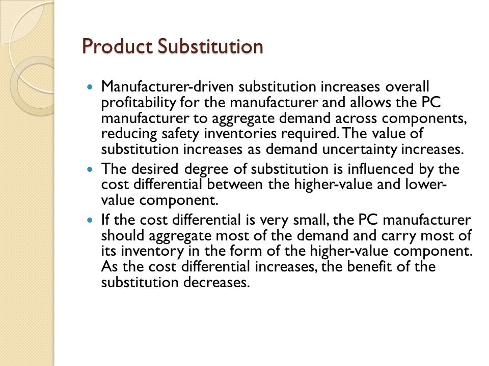 Product Substitution