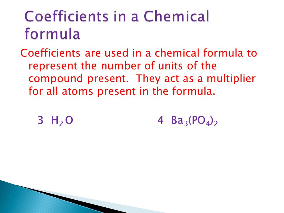 Coefficients in a Chemical formula