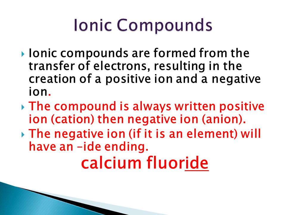 Ionic Compounds calcium fluoride