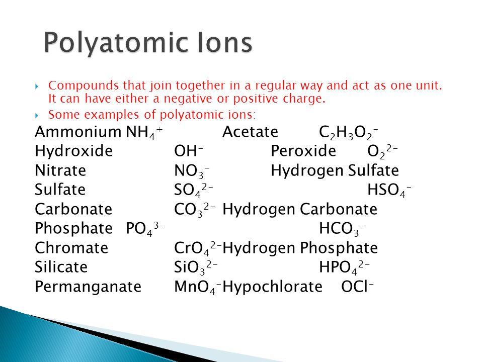 Polyatomic Ions Ammonium NH4+ Acetate C2H3O2-