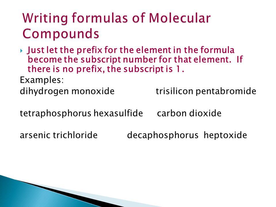 Writing formulas of Molecular Compounds