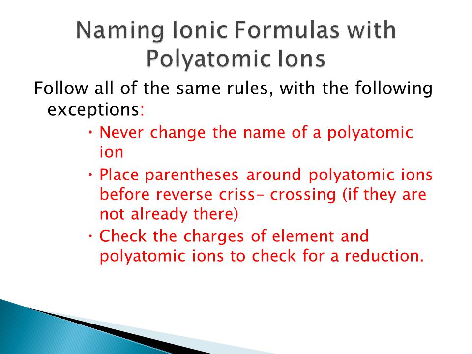 Naming Ionic Formulas with Polyatomic Ions