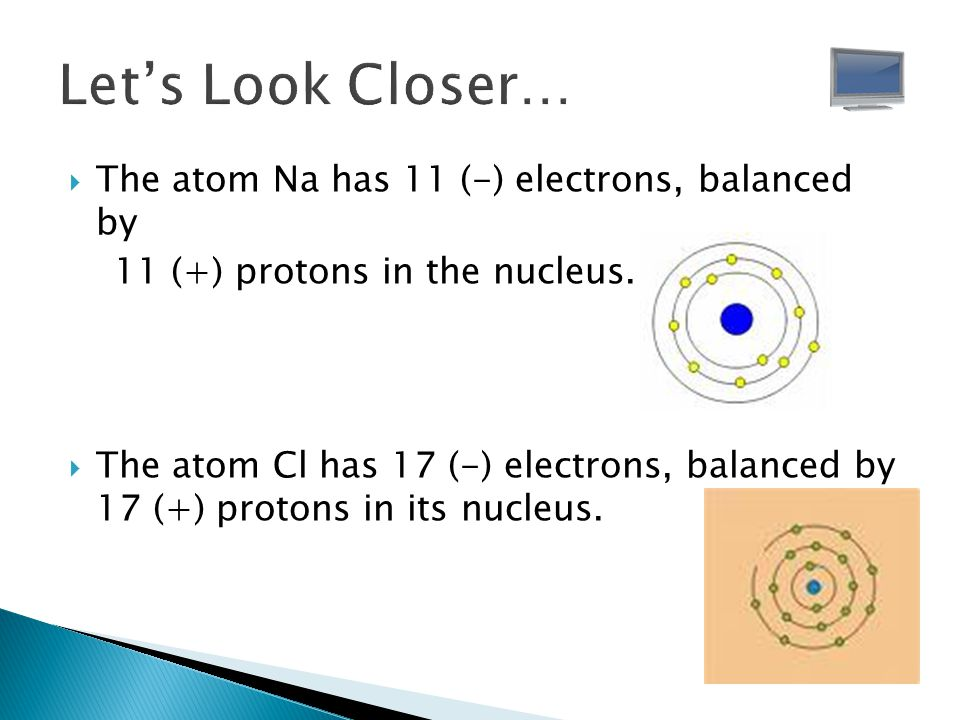 Let's Look Closer… The atom Na has 11 (-) electrons, balanced by