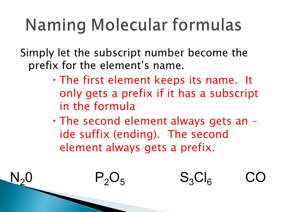 Naming Molecular formulas