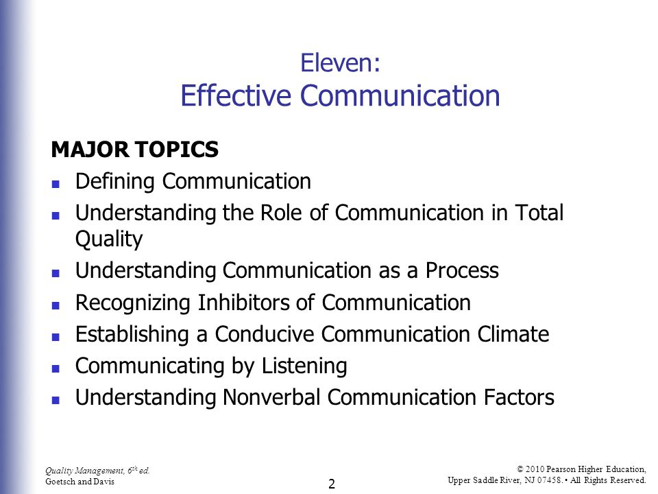 Eleven: Effective Communication