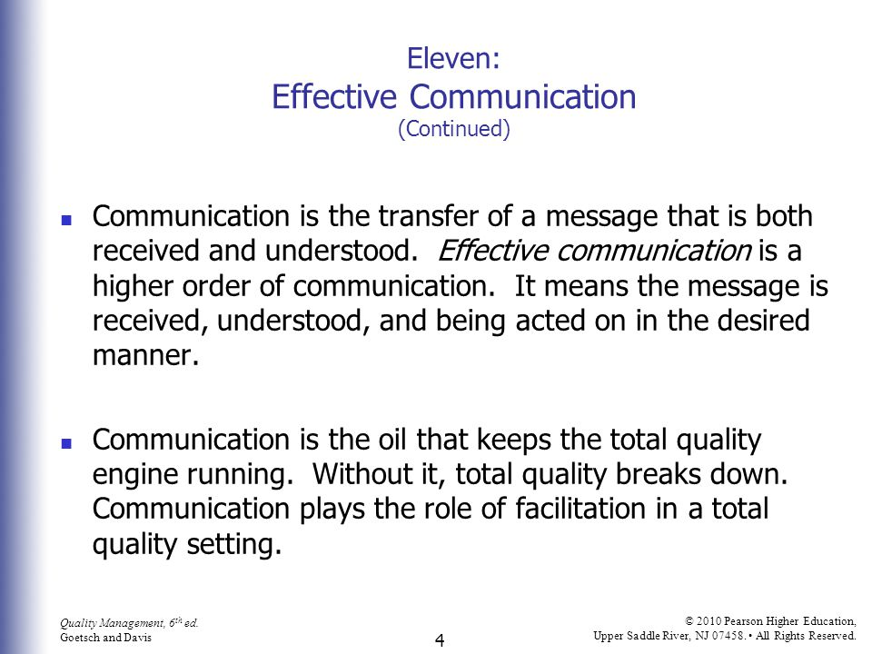 Eleven: Effective Communication (Continued)
