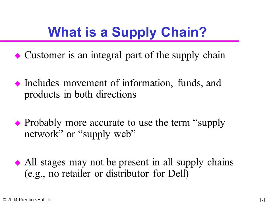 What is a Supply Chain Customer is an integral part of the supply chain. Includes movement of information, funds, and products in both directions.