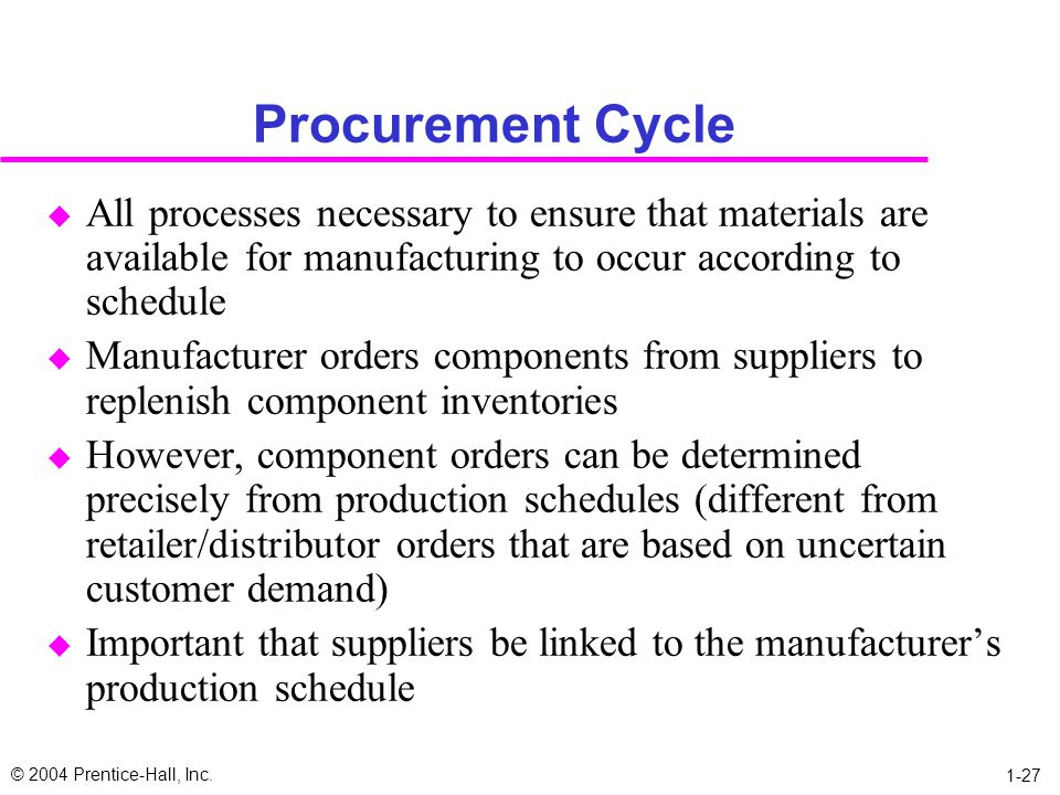 Procurement Cycle All processes necessary to ensure that materials are available for manufacturing to occur according to schedule.