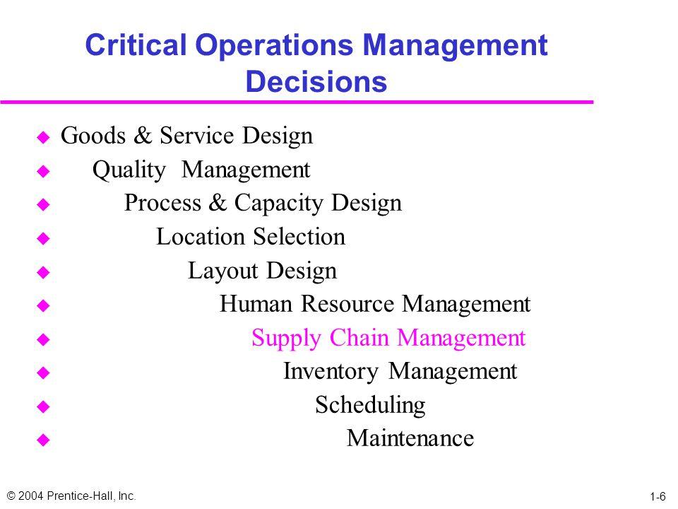 Critical Operations Management Decisions