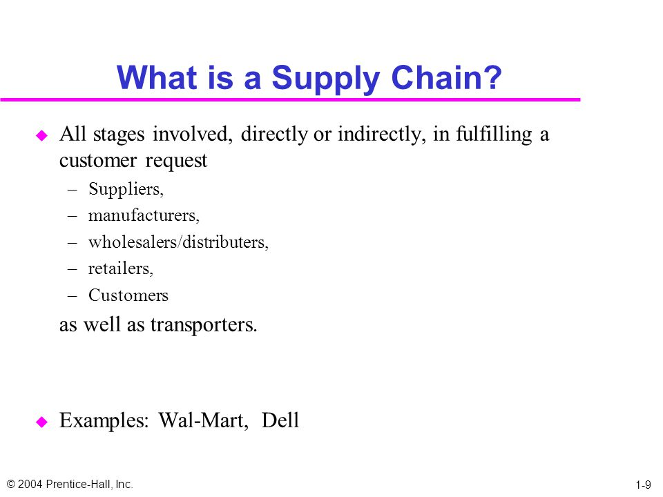 What is a Supply Chain All stages involved, directly or indirectly, in fulfilling a customer request.