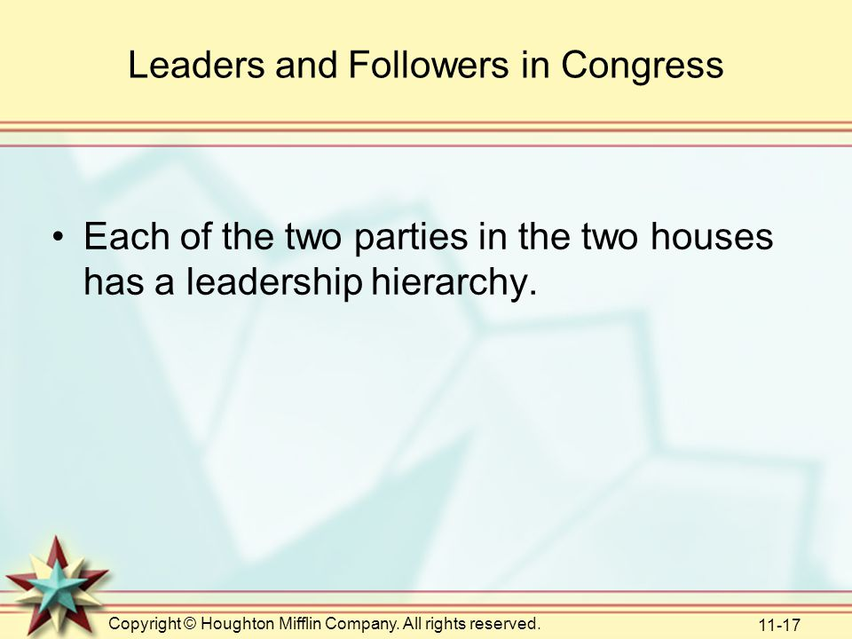 Leaders and Followers in Congress