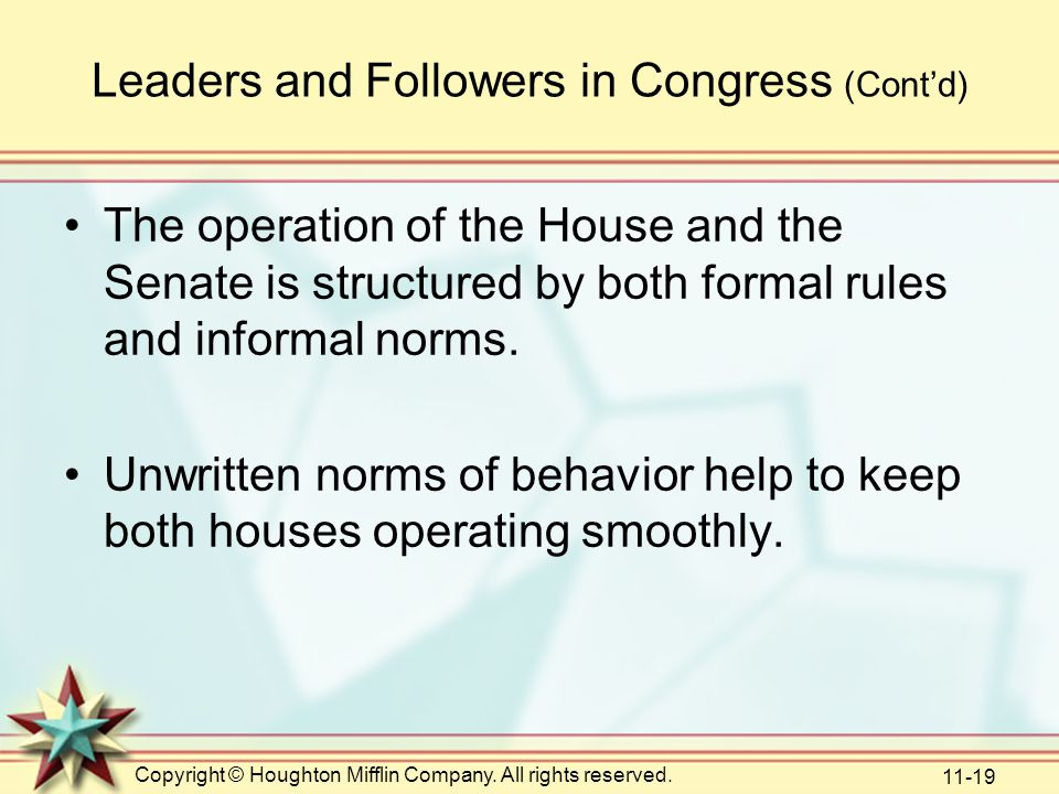 Leaders and Followers in Congress (Cont'd)
