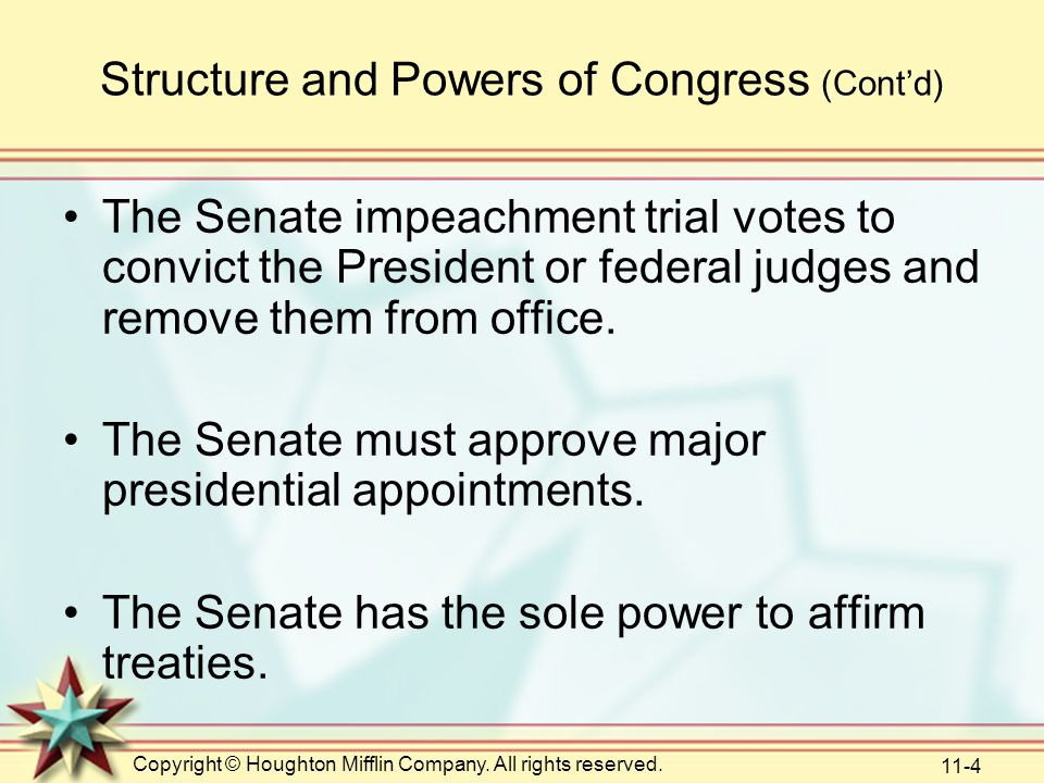 Structure and Powers of Congress (Cont'd)