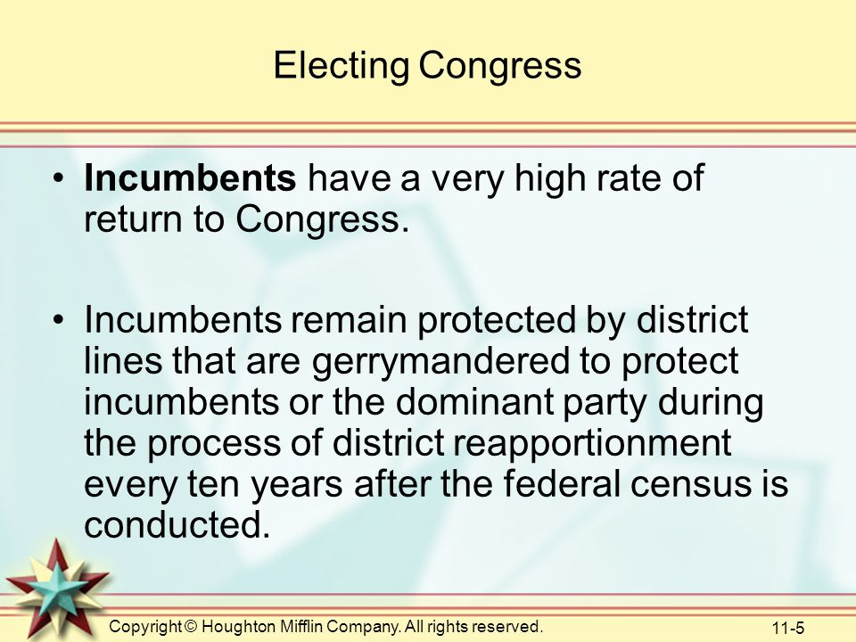 Incumbents have a very high rate of return to Congress.