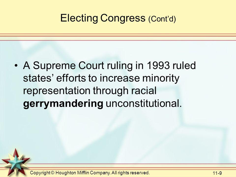 Electing Congress (Cont'd)
