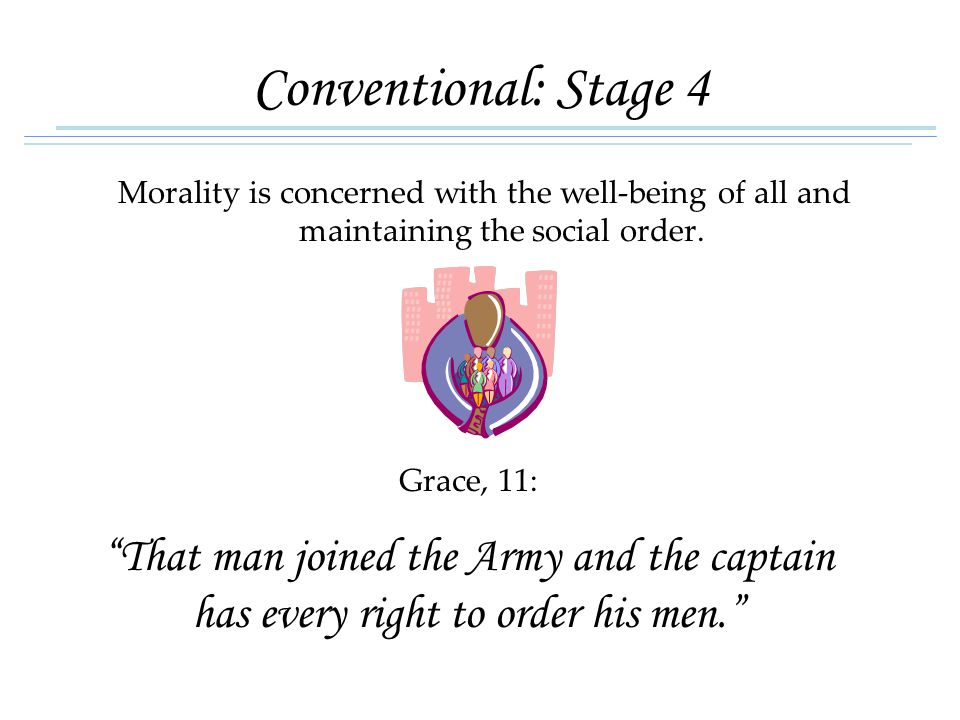 Conventional: Stage 4 Morality is concerned with the well-being of all and maintaining the social order.