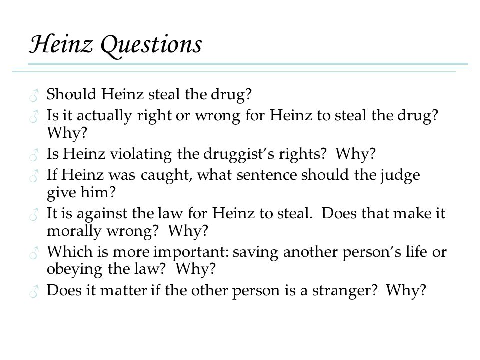 Heinz Questions Should Heinz steal the drug