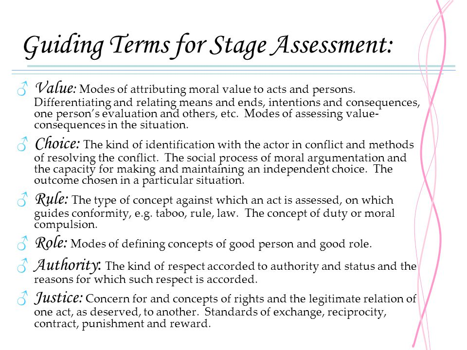Guiding Terms for Stage Assessment: