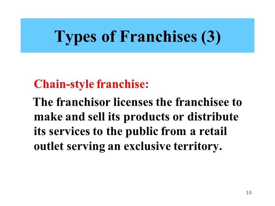 Types of Franchises (3) Chain-style franchise: