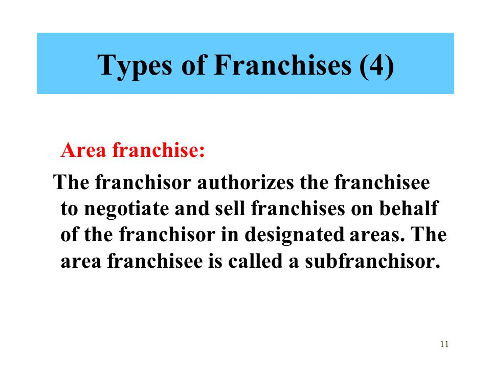 Types of Franchises (4) Area franchise: