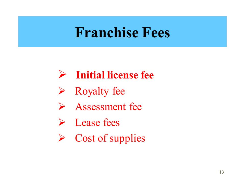 Franchise Fees Initial license fee Royalty fee Assessment fee