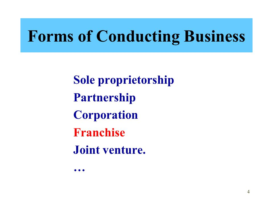 Forms of Conducting Business