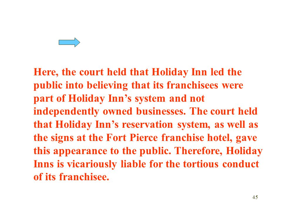 Here, the court held that Holiday Inn led the public into believing that its franchisees were part of Holiday Inn's system and not independently owned businesses.