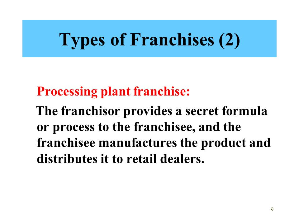 Types of Franchises (2) Processing plant franchise: