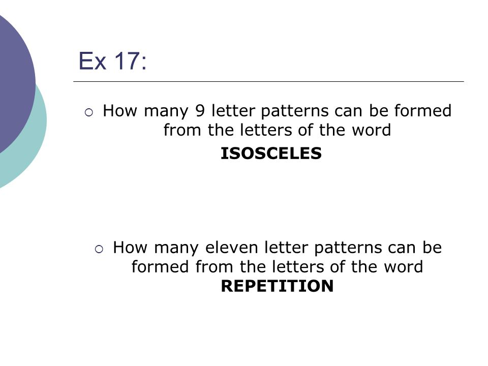 How many 9 letter patterns can be formed from the letters of the word
