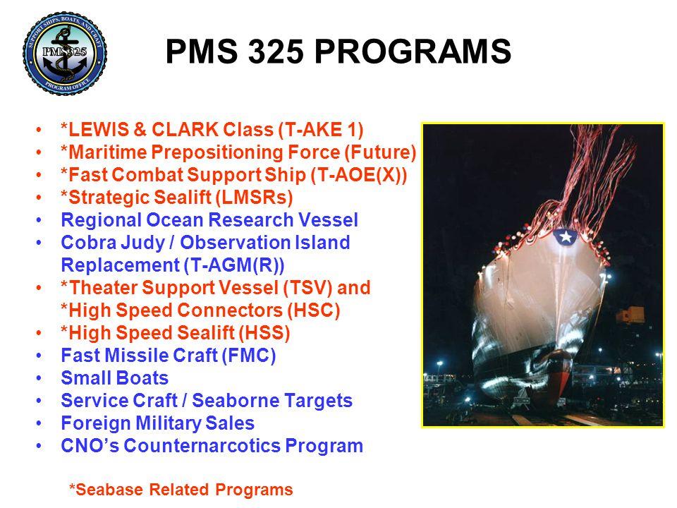 PMS 325 PROGRAMS *LEWIS & CLARK Class (T-AKE 1)