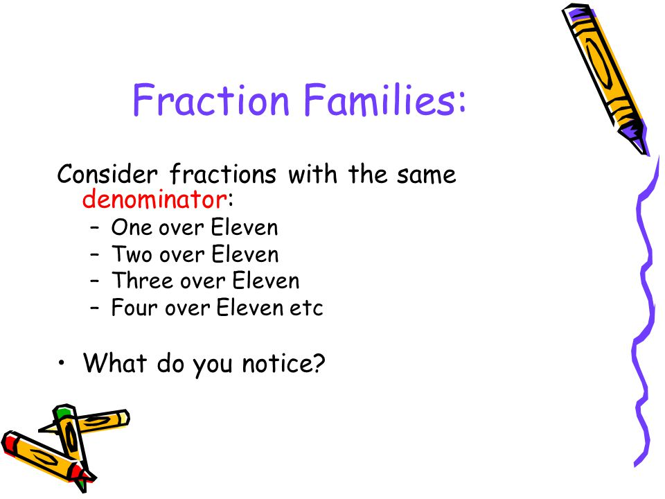 Fraction Families: Consider fractions with the same denominator: