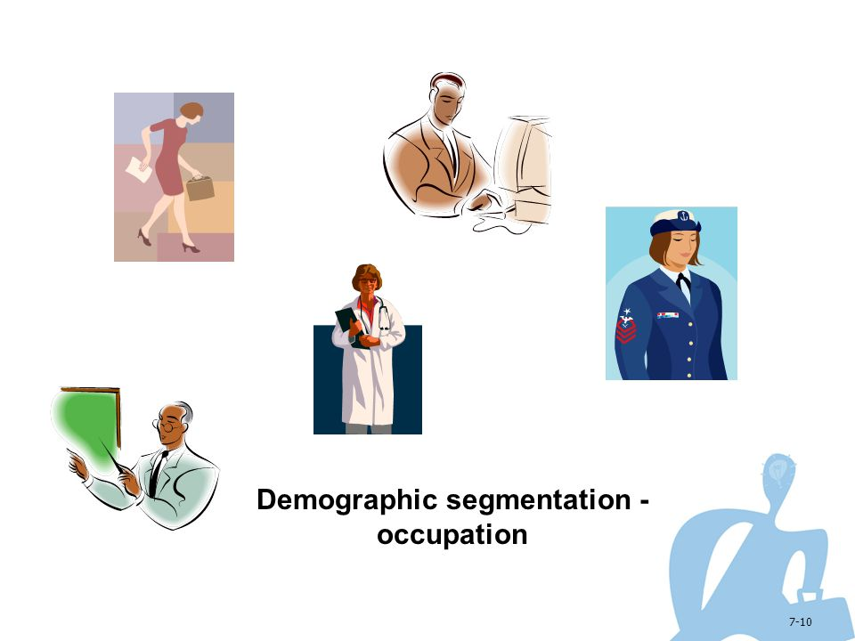 Demographic segmentation - occupation