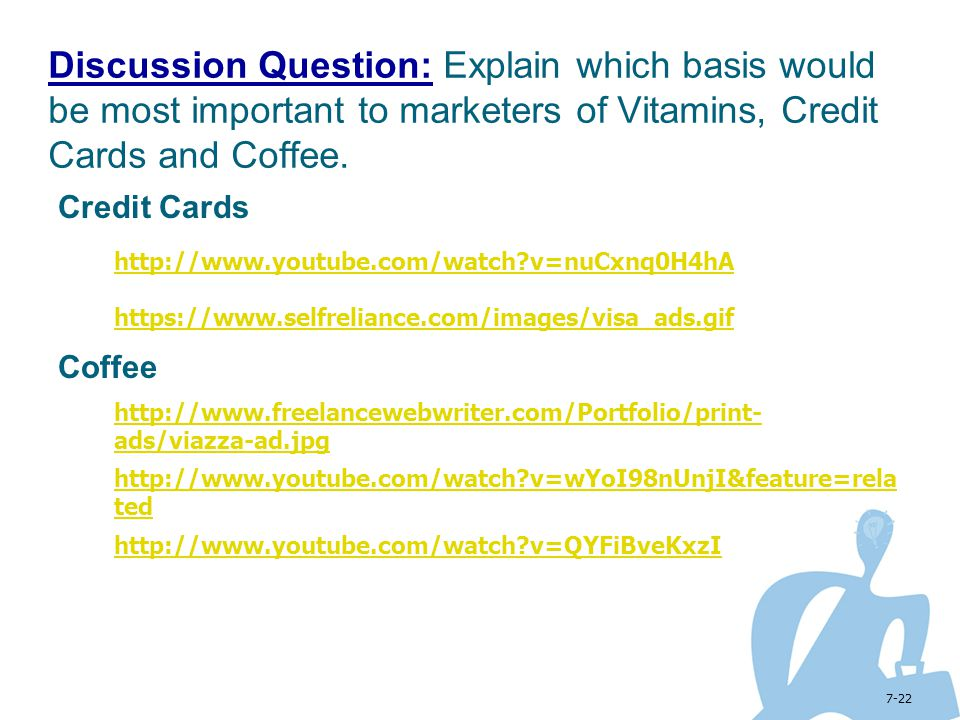 Discussion Question: Explain which basis would be most important to marketers of Vitamins, Credit Cards and Coffee.