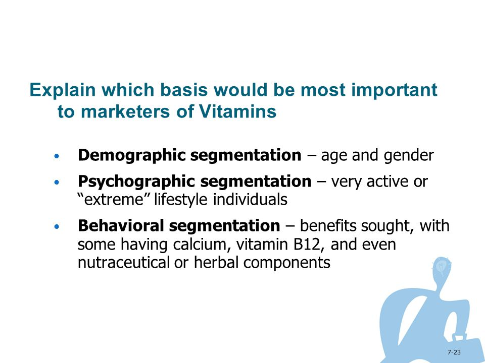 Explain which basis would be most important to marketers of Vitamins