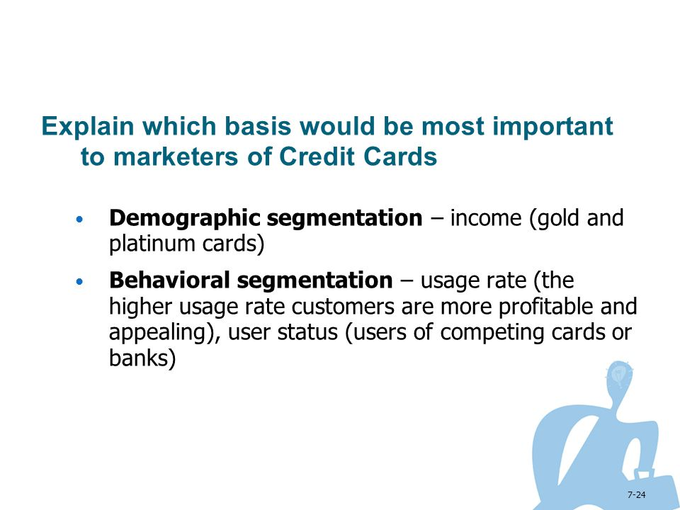 Explain which basis would be most important to marketers of Credit Cards
