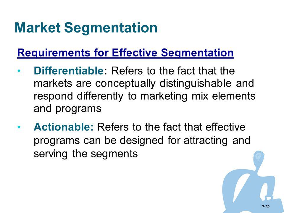 Market Segmentation Requirements for Effective Segmentation