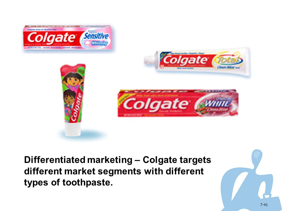 Differentiated marketing – Colgate targets different market segments with different types of toothpaste.